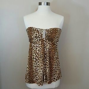 Leopard print strapless bling party club top