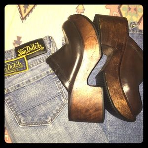 Vintage Shoes - VTG STEVE MADDEN® WOODEN CHUNKY CLOGS PLATFORMS 7