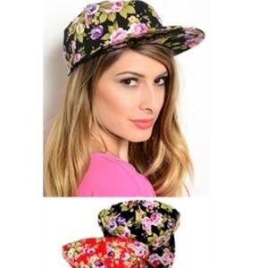 Floral Adjustable Hats (Black Red Tan)
