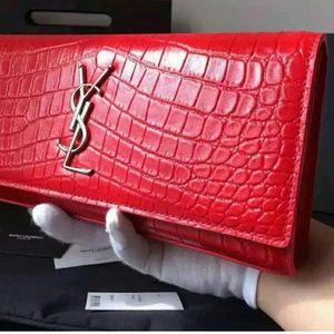 YSL Saint Laurent Clutch Wallet Croc Leather Red