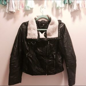 H&M Bomber Motorcycle faux leather jacket black