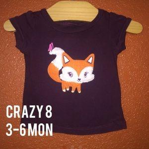 Crazy 8 Maroon Fuzzy Fox T Shirt 3-6 Months