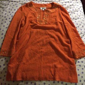 St. John Tunic sweater orange large embellished