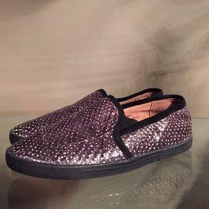 JOIE Black Kidmore Snakeembossed Sneakers 6.5