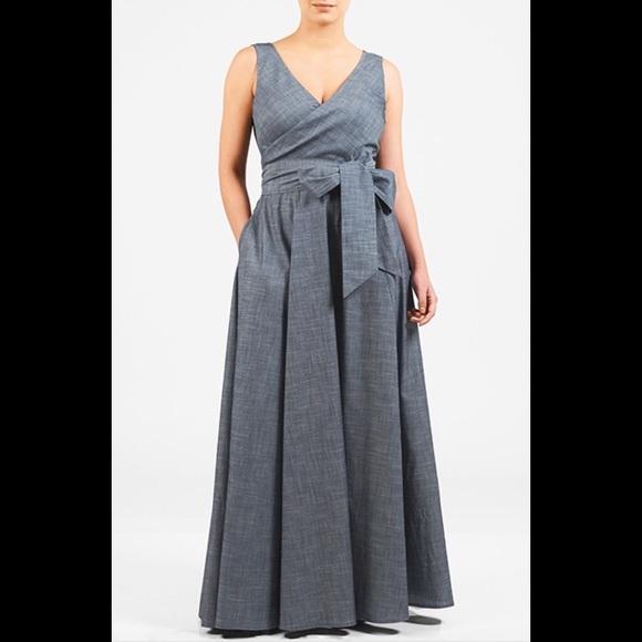 6a15dd22bb5 eshakti Dresses   Skirts - New Eshakti Chambray Fit   Flare Maxi Dress 18W