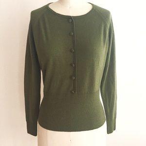 Donbros Sweaters - Olive Green Raglan Wool Sweater