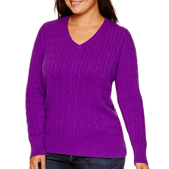 St Johns Bay Sweaters New Plus Size 1x Vneck Cableknit Purple