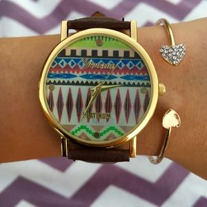 Brown leather band watch geo print