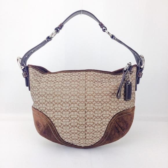 Coach Handbags - Coach Canvas Suede Signature Hobo Shoulder bag b9bb27585e2de