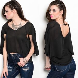 Black Silk Cape Sleeve Semi-Sheer Hi-Low Top