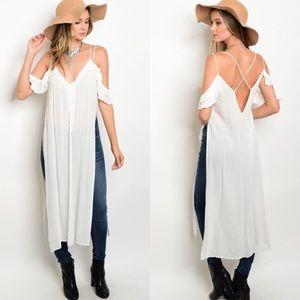 🎉LAST 2🎉 Cold Shoulder Side Slit Boho Tunic Top