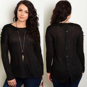 Plus Size Black Slub Button Back Sweater Top