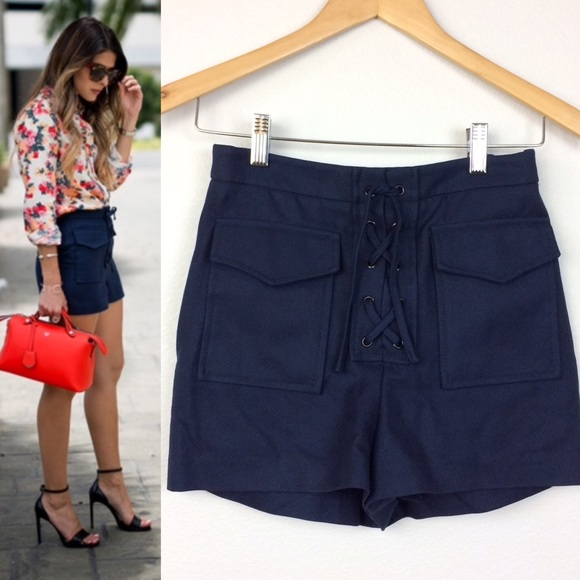 7c6620367e82 Topshop Navy Twill Lace-up Short. M 57ee143613302acc88039f21