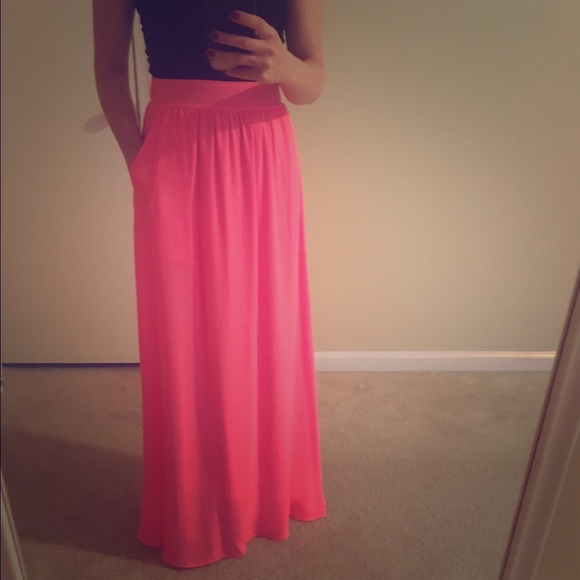 84% off Dresses & Skirts - Neon pink maxi skirt from Christin's ...