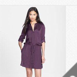Vince Purple Drawstring Long Sleeve Shirt Dress