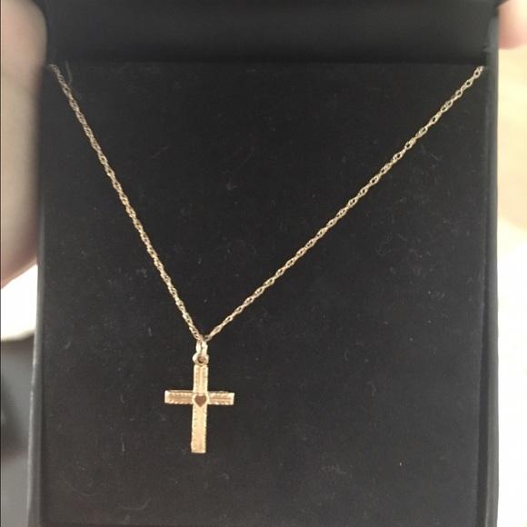 Macys Jewelry Rh Macy And Co 14k Gold Cross Necklace Poshmark