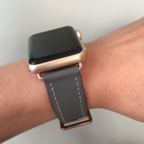 Other Gray Apple Watch Band With Rose Gold Hardware Poshmark