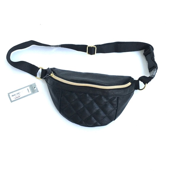 65425d9d97f2 Quilted faux leather fanny pack festival