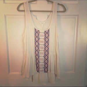 Sun and Shadow Tops - NWT Sun and Shadow Embroidered Cream Tank
