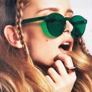 Accessories - JUST IN RIMLESS ROUND CAT EYE SUNGLASSES GREEN