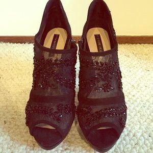 BCBG black lace embellished booties