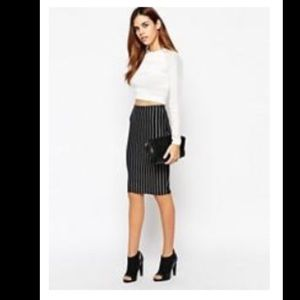 NWT ASOS NEW LOOK NAVY STRIPE MIDI PENCIL SKIRT 6