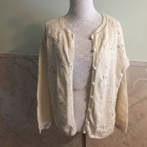 Heirloom Collectibles Sweaters - Beautiful Knit Cardigan w/Embroidery & Pearls