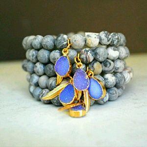 Function & Fringe Jewelry - Matte Jasper  & Druzy Bracelets