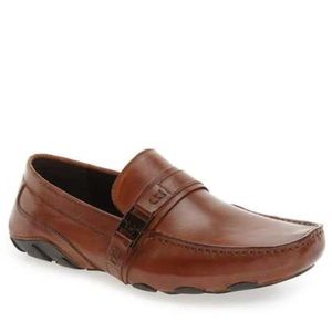 KENNETH COLE REACTION Cognac Leather Men's Loafers