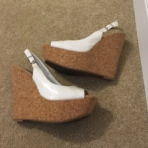 Shoes - Jessica Simpson white cork wedges Size 7 1/2