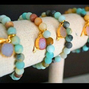 Function & Fringe Jewelry - Matte Amazonite & Druzy Bracelet