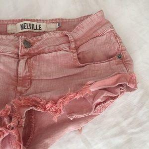 Brandy Melville Pants - Brandy Melville Pink Denim Cut Off Shorts sz 40