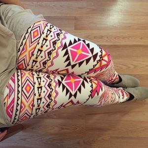 Pants - Pink Aztec Ankle Leggings