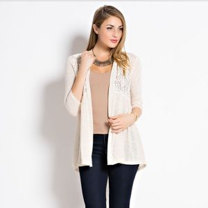 Sweaters - Lace Detail Cardigan