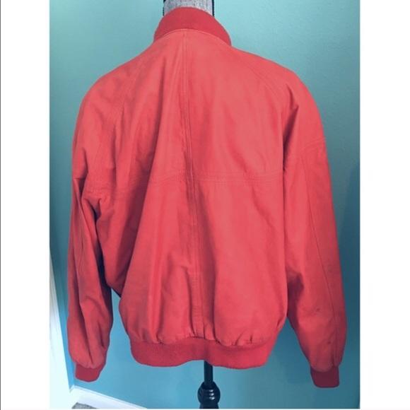 Vintage Jackets & Coats - Amazing Vintage Red Leather Bomber Jacket XL