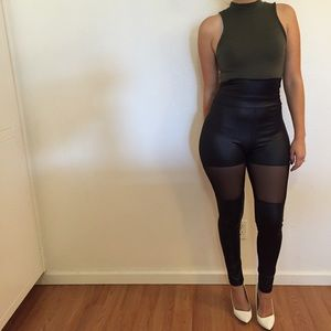Pants - Faux Leather & Mesh High Waisted Leggings