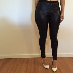 Pants - Faux Leather Front Ankle Leggings