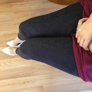 Pants - LAST S/M Black Suede Leggings