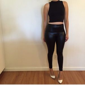 Pants - Faux Leather High Waisted Leggings