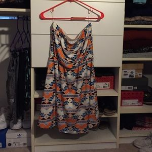 BNWT Francesca's tribal print strapless dress