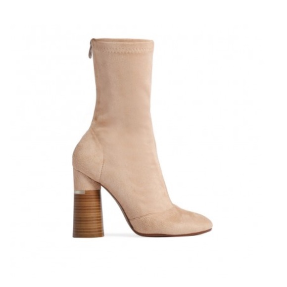 Shoes - Nude Suede Ankle Boots
