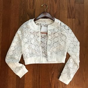 oliveaceous  Jackets & Blazers - Oliveaceous crochet cropped jacket NWT