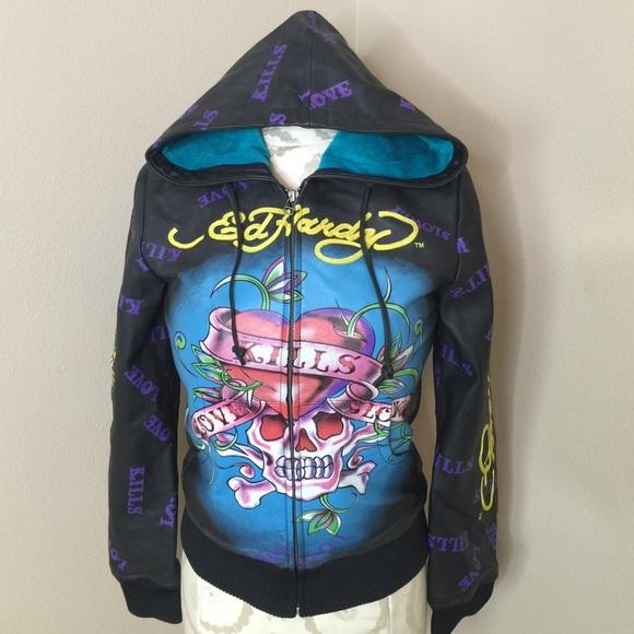 5d23e59a64c20 Ed Hardy Women s Leather Jacket Love Kills sz M