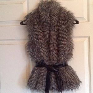 Jackets & Blazers - Faux fur vest with belt  NWT