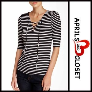 Fire Los Angeles Tops - ❗1-HOUR SALE❗Striped Lace-Up Ribbed Tee