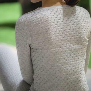 NWT Merino Wool Cotton Textured Polka Dot Sweater