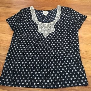 Anthropologie blouse - navy print