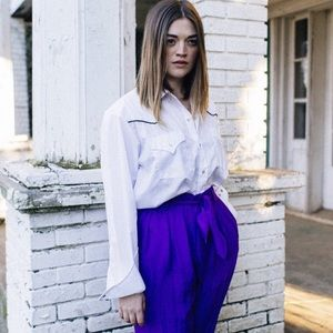 ASOS Pants - The whitepepper royal blue belted linen trousers