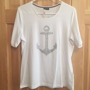 Gerry Weber Tops - NWT Short Sleeve White Anchor Tee