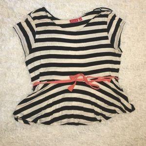Elle black and white striped peplum top